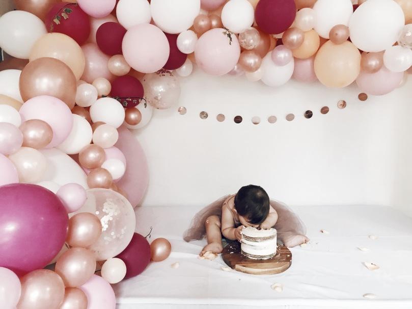 just.isla.and.i birthday cake smash balloons party